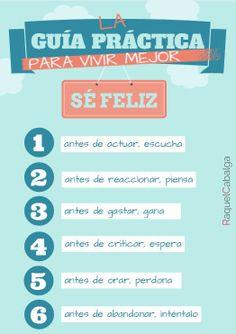 ¿Tienes en cuenta estas 6 recomendaciones en tu día a día? Vive mejor, sé feliz.  | www.raquelcabalga.com |
