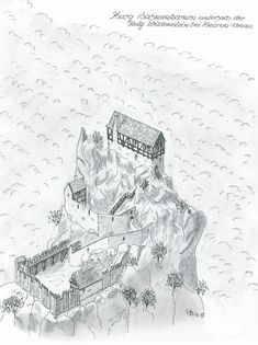 Hahnenkamm - Middle Ages and Renaissance - Militar Fantasy Town, Fantasy Castle, Fantasy Map, Medieval Tower, Medieval Castle, Medieval Fantasy, Castle Sketch, Castle Drawing, Architecture Old