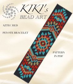 Peyote pattern for bracelet Aztec red peyote bracelet pattern