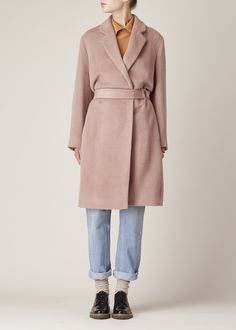 Totokaelo - Acne Studios Dusty Pink Elga Hairy Coat