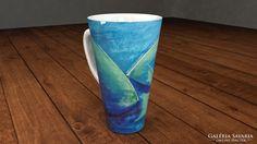 Csodás porcelán cappuccinós bögre művészi dekorral_6