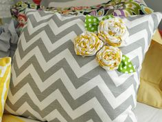 pillows with homemade flowers