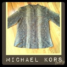 """Sheer snakeskin print blouse Bring some style to your work week. This collarless button down by Michael Kors is in EUC. The blouse is sheer and the material is 70% cotton and 30% silk. Shoulders 16""""; Bust 18.5""""; length 25"""". Michael Kors Tops Button Down Shirts"""