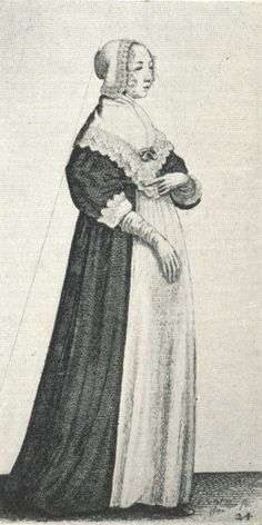 Drawing by Wenceslaus Hollar, women's 17th century fashion history