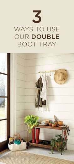 This hardworking boot tray is versatile enough to meet your needs and can turn any back door or mudroom into a functioning space.