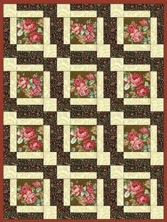 Quilt kit features nostalgic coral, pink and red roses on a brown background a very vintage looking quilt kit. Yes this quilt kit is pre-cut for you. There are large roses on a brown background, pumpk Amische Quilts, Big Block Quilts, Panel Quilts, Quilt Block Patterns, Large Print Quilt Blocks, Quilt Baby, Quilting Projects, Quilting Designs, Flower Quilts