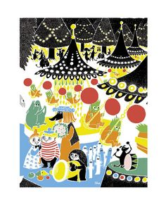 Moomin Poster Amusement Park Tove Jansson 24 x 30 cm Painting Prints, Canvas Prints, Framed Prints, Art Prints, Graphic Design Illustration, Graphic Art, Lynda Barry, Tove Jansson, Print Patterns