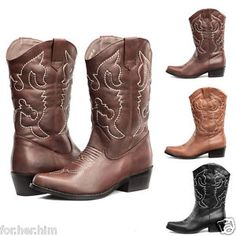 women-cowgirl-western-boots-mid-calf-low-heeled-party-shoes-pointed-toe-wide-new