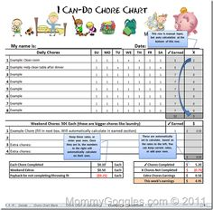 This Is The Best Chore Allowance Chart That I Have Found Love Can Deduct For Not Completing Or Complaining