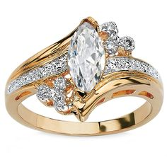 Palm Beach Jewelry 1.03 TCW Marquise-Cut Cubic Zirconia Engagement Anniversary Ring in 14k Gold-Plated Classi