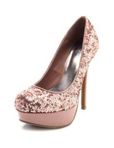sequin pink pumps