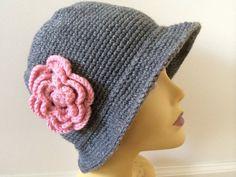 Gray Cloche Hat with Pink Flower Usa Seller by zahraknitting