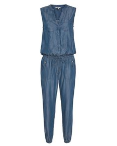 Joie EXCLUSIVE Cargo Denim Jumper: The jumper is an effortless silhouette and we are loving the denim fabric. Sleeveless. Button placket. Drawstring elastic waistband and elasticized cuffs. Two zip pockets and two slit pockets. In denim. Fabric: 100% lyocell Made in China. Model ...