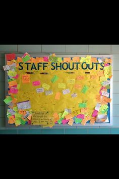 People Management Working with Colleagues/Paraprofessionals Great idea to do in the classroom with student shoutouts - Staff Shoutouts Bulletin Board - Great way to boost morale! School Leadership, Educational Leadership, Teacher Appreciation Week, Teacher Gifts, Employee Appreciation, Appreciation Gifts, Teacher Stuff, Future Classroom, School Classroom