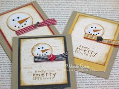 Check out these totally cute cards Wanda made using inspiration from my snowman pins and magnets! LOVE LOVE LOVE!!!