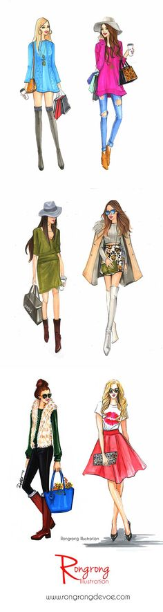 Street fashion styles illustrations by Houston fashion illustrator Rongrogn DeVoe. more at www.rongrongillustration.etsy.com