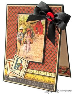 """Try this Place in Time """"Off to School"""" card with a printable project sheet #graphic45 #projectsheets #tutorials"""