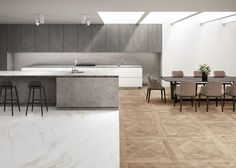 Mimica Bianco Ravenna Gold Matt Porcelain Tile | Mandarin Stone Mandarin Stone, Colorful Kitchen Decor, Large Format Tile, Outdoor Tiles, Marble Effect, Ravenna, Glass Marbles, Porcelain Tile, Indoor
