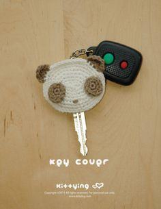 Panda Key Cover Crochet Pattern, graphique et écri