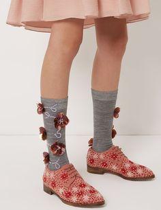 Grey Sequin Flower Socks