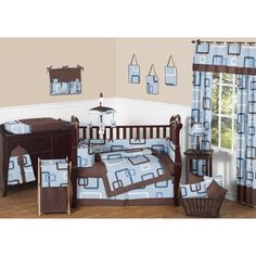 Sweet Jojo Designs Geo Blue 9-piece Crib Bedding Set   Overstock.com Shopping - Big Discounts on Sweet Jojo Designs Bedding Sets