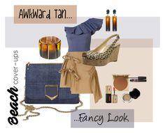 """Awkward tan... fancy look"" by sachi-grl ❤ liked on Polyvore featuring Lisa Marie Fernandez, N°21, Stuart Weitzman, Oscar de la Renta, Stila, Yves Saint Laurent, Shiseido, Pop Beauty and coverups"