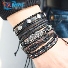 Most Stylist Vintage Leaf Feather Multilayer Leather Bracelet for Men. #jewelry #bracelet #vintagestylebracelet