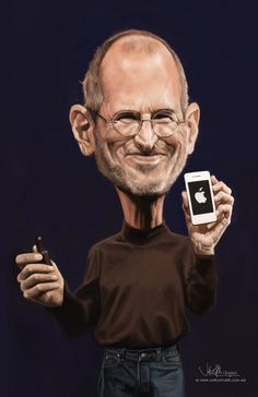 """digital caricature of Steve Jobs, drawn in Photoshop CS4 with Wacom Cintiq 12"""", about 5 hours. Video of painting progress:- http://www.youtube.com/watch?v= ..."""