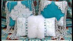 WATCH OUR PRODUCT VIDEOS!  STARGAZER MERCANTILE - Turquoise and White Western Style Leather Pillow Group with Arctic Fox Fur