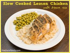 Slow Cooked Lemon Chicken with Brown Rice THM E meal from thecoersfamily.com