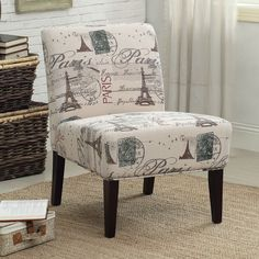 Sit back and relax in this armless lounge chair featuring linen script design that is eye-catching, yet subtle. The ultra comfortable chair features a deep, wide seat and is covered in a fun and elegant print upholstery.