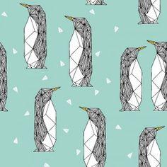 Geo Penguin Mint- SWEATER(BIO)