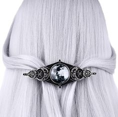 Full Moon Geometry Hair Clip Barette Full Crescent Phases