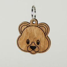 Teddy Bear Emoji Keychain Bear Face Emoji Carved by LadyMaggies Teddy Bear Emoji, Wooden Key Holder, Black Acrylic Paint, Birch Ply, Bear Face, Oak Stain, Minnie Birthday, Oak Color, Wooden Coasters