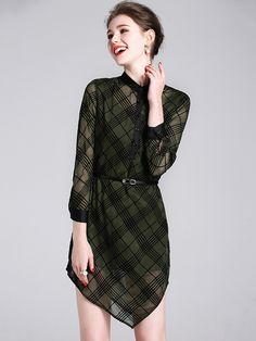 Green Plaid Pattern Asymmetric Hem Silk Mini Dress