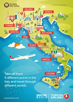 Turkish Airlines Map of Italy Travel Europe Cheap, Backpacking Europe, Travel Maps, Places To Travel, Italy Train, European Road Trip, Italy Map, Italy Italy, Tourist Map
