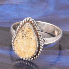 925 SOLID STERLING SILVER PSILOMELINE DENDRITE AGATE RING 3.84g DJR4857 #Handmade #Ring