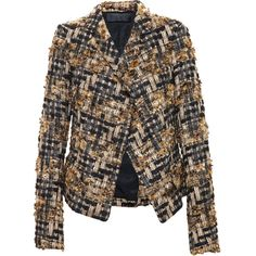 Haider Ackermann Metallic Tweed Jacket (2 370 AUD) ❤ liked on Polyvore featuring outerwear, jackets, coats & jackets, coats, blazers, gold metallic jacket, formal jacket, haider ackermann, brown jacket and tweed jacket