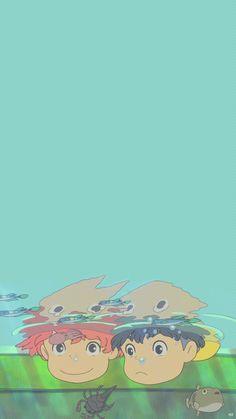Studio Ghibli's Ponyo wallpaper Art Studio Ghibli, Studio Ghibli Films, Studio Ghibli Quotes, Cartoon Wallpaper, Cute Anime Wallpaper, Iphone Wallpaper, Wallpaper Studio, Wallpaper Art, Wallpaper Backgrounds