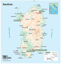 PCGraphics have produced a number of maps for Iron Donkey Bicycle Touring, based in County Down, Northern Ireland. This is the Sardinia map we supplied.