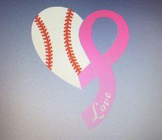 d0aa3062 Iron On Baseball Ribbon Heart / iron on pink ribbon / iron on baseball  heart / baseball shirt / breast cancer iron on