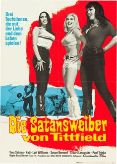 """Faster, Pussycat! Kill! Kill! (Constantin, 1965). German A1 (23.5"""" X 33"""").  Russ Meyer's notorious thriller about three go-go dancers who take a ride into the desert, commit a couple of murders and lay siege to a crippled guy, remains a favorite of exploitation fans everywhere. This eye-popping unrestored German A1 features the three psycho-babes -- Tura Satana, Haji, and Lori Williams -- striking a pose against a vivid red-and-blue background."""