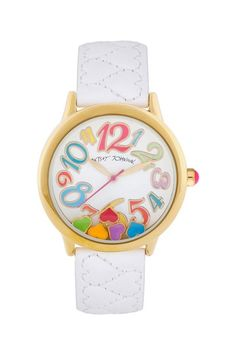 Women's Gold-Tone Floating Heart Quilted Leather Watch by Betsey Johnson Jewelry & Watches on @HauteLook