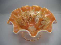 Marigold Carnival Glass Footed Fruit Bowl w/ Ruffled Edge