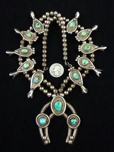 226g Vintage Navajo Sterling Silver Squash Blossom Necklace w Dreamy Pilot Mountain Turquoise! Totally Fabulous Classic!