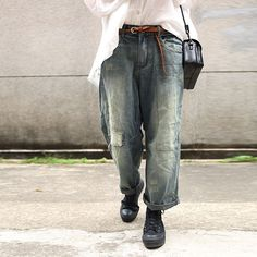 Buy Street Style Patchwork Wide Leg Jeans Loose Straight-Leg Pants in Jeans online shop, Morimiss offers Jeans to make you feel comfortable Denim Jacket Men, Denim Jeans Men, Wide Leg Jeans, Denim Shirt, Raw Denim, Denim Outfit, Streetwear, Denim Fashion, Street Styles