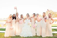 Rustic Bridesmaids | Country Farm Wedding | Pink and Champagne Bridesmaids |