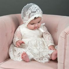 Victoria Lace Christening Bonnet - Baby Girl Dress - Ideas of Baby Girl Dress - Victoria Lace Christening Bonnet Girls Christening Dress, Baptism Outfit, Baby Girl Baptism, Baptism Gown, Baby Blessing Dress, Foto Baby, Dresses Kids Girl, Baby Dresses, Baby Girl Fashion