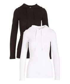 This Black & White Thermal Thermal Hoodie Set is perfect! #zulilyfinds