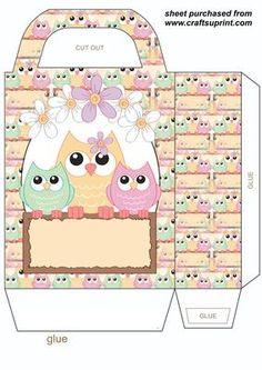 Spring owl gift bag 4 on Craftsuprint designed by Stephen Poore -